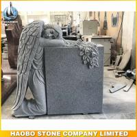Cheap grey granite weeping angel monument with carved rose